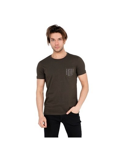 Five Pocket Five Pocket 8025 Bisiklet Yaka Kısa Kol Cepli Haki Erkek T Shirt Renkli